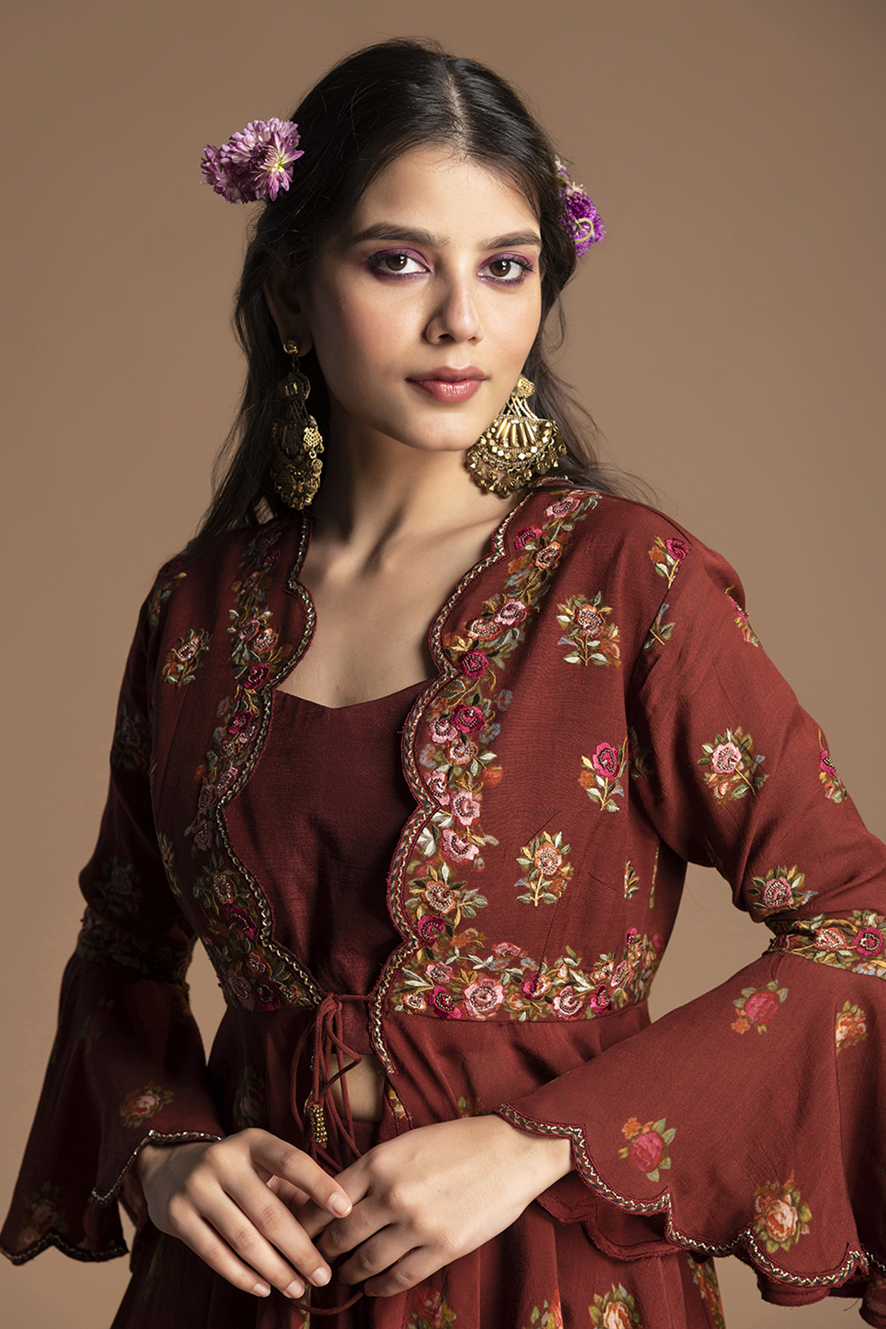 Plum Red Embroidered Gharara Set by Kalista