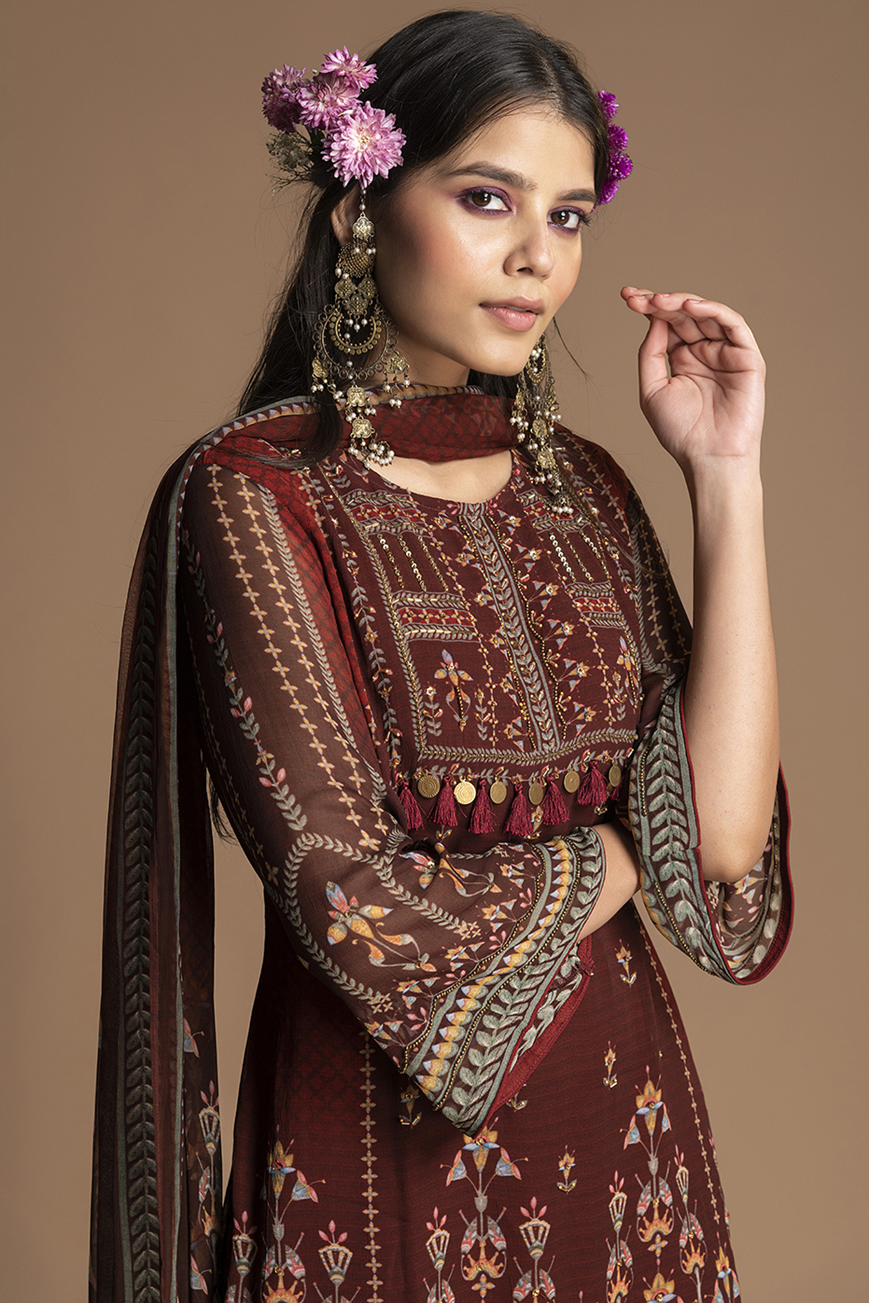 Maroon Floral Embroidered Gharara Set by Kalista