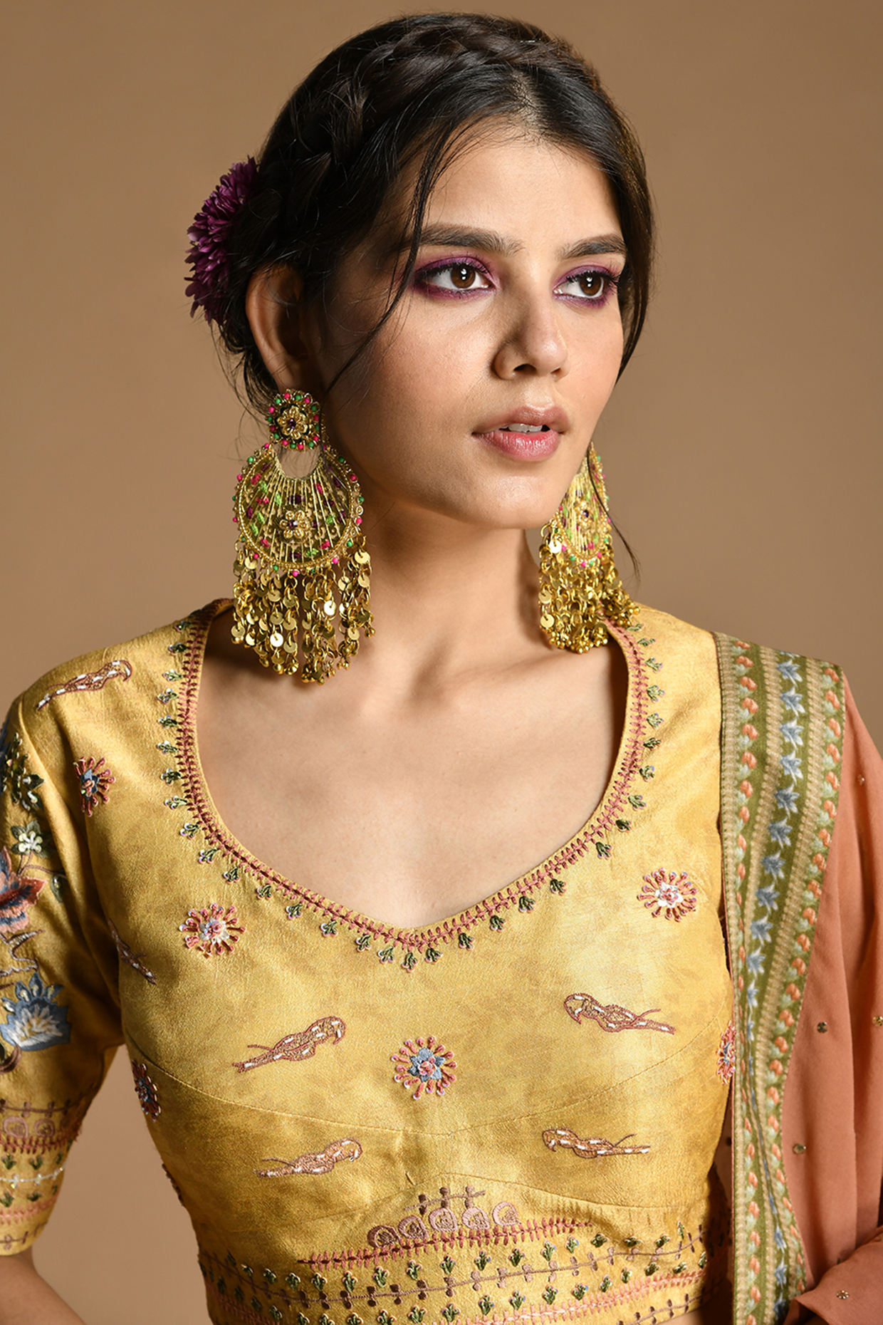 Yellow Embroidered Lehenga Set by Kalista
