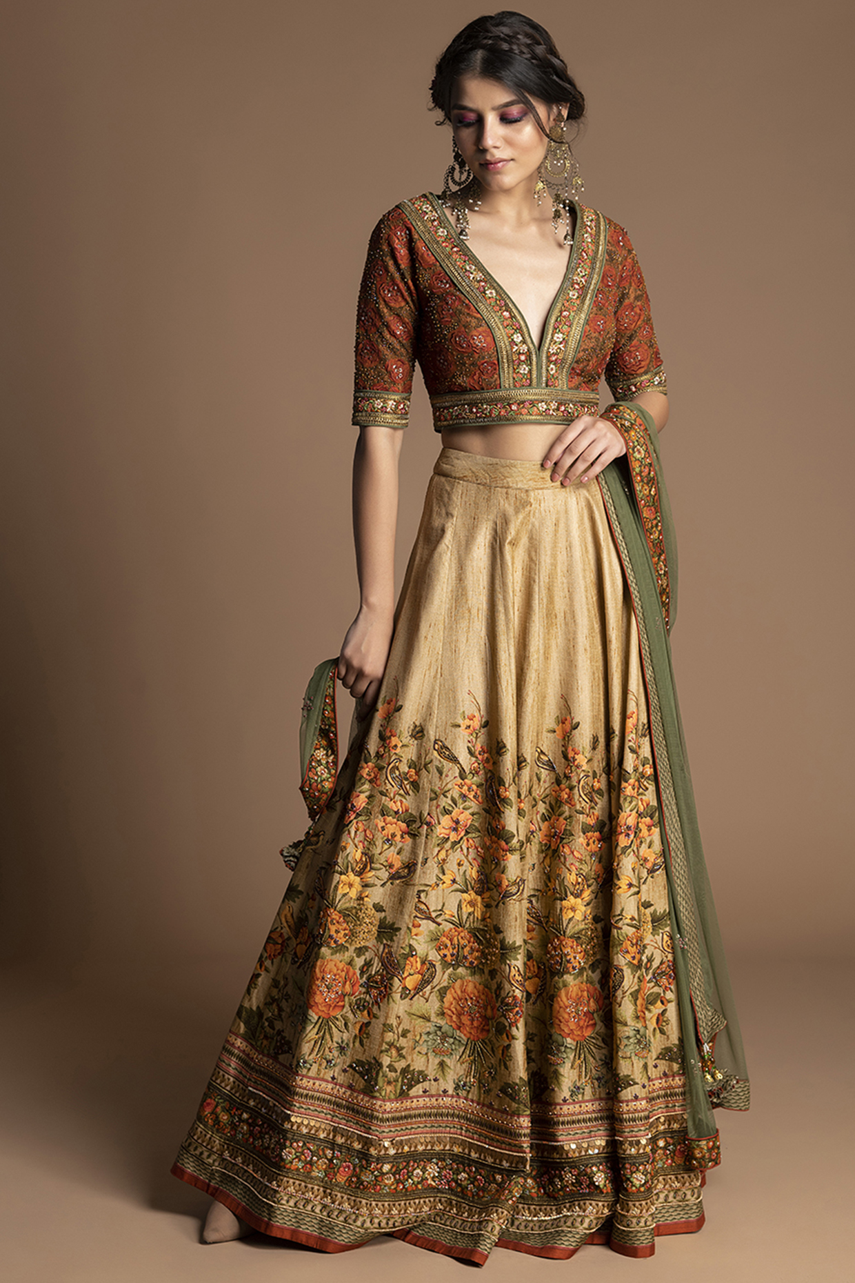 Beige Embroidered Lehenga Set by Kalista