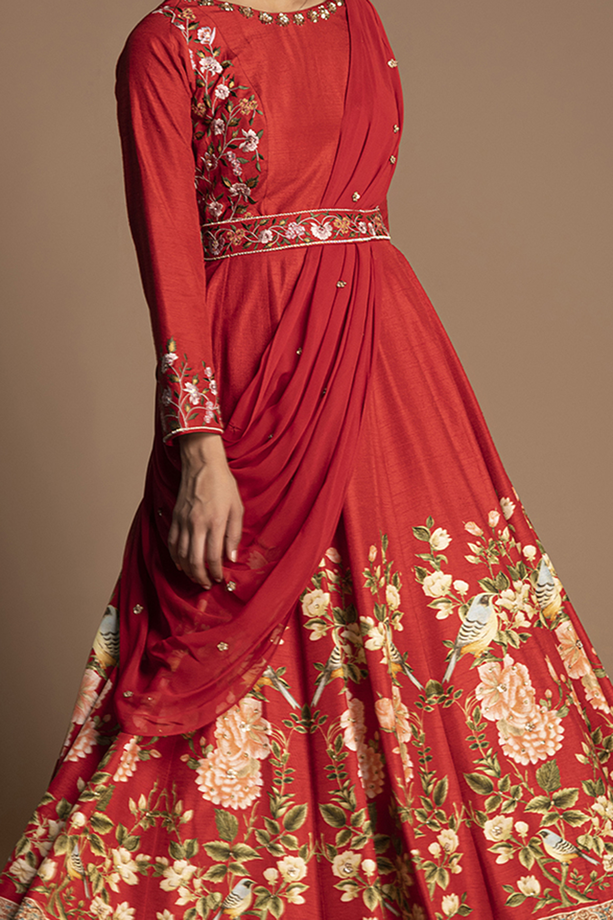 Red Embroidered Gown With Draped Dupatta & Belt by Kalista