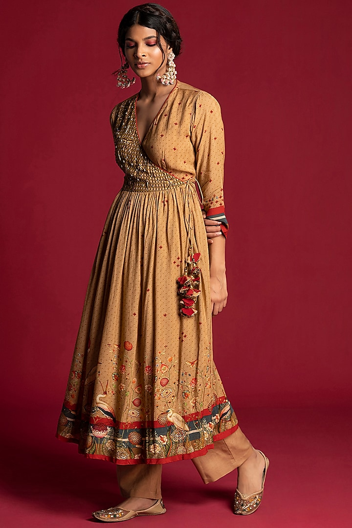 Beige Printed Angrakha Tunic Set by Kalista