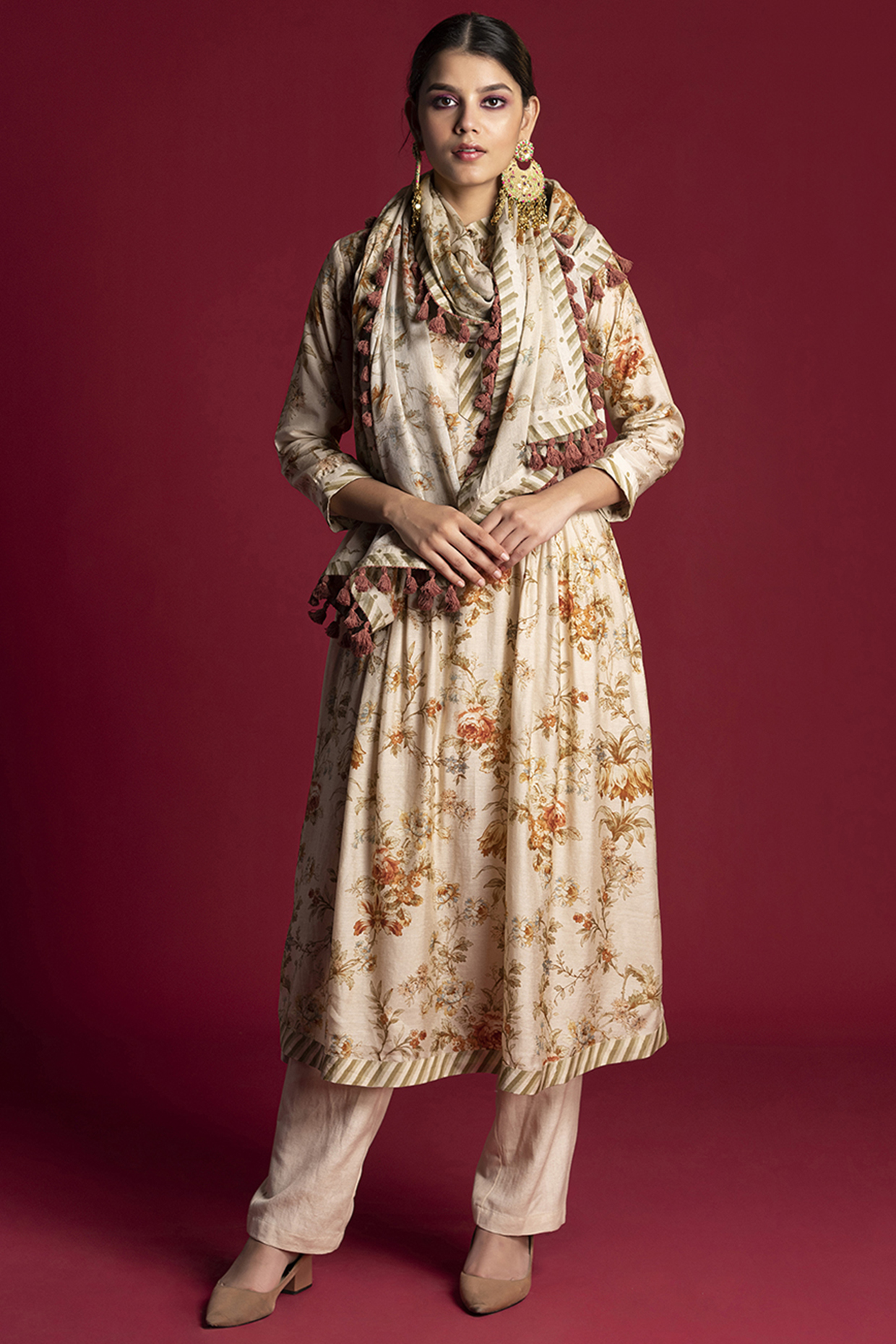Cream Floral Tunic Set by Kalista