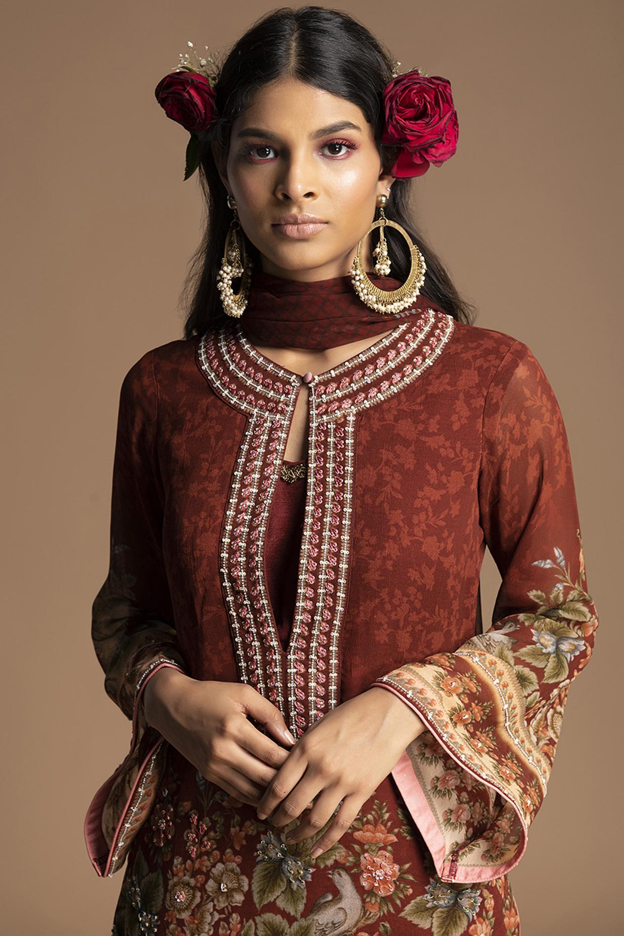Maroon Floral Gharara Set by Kalista