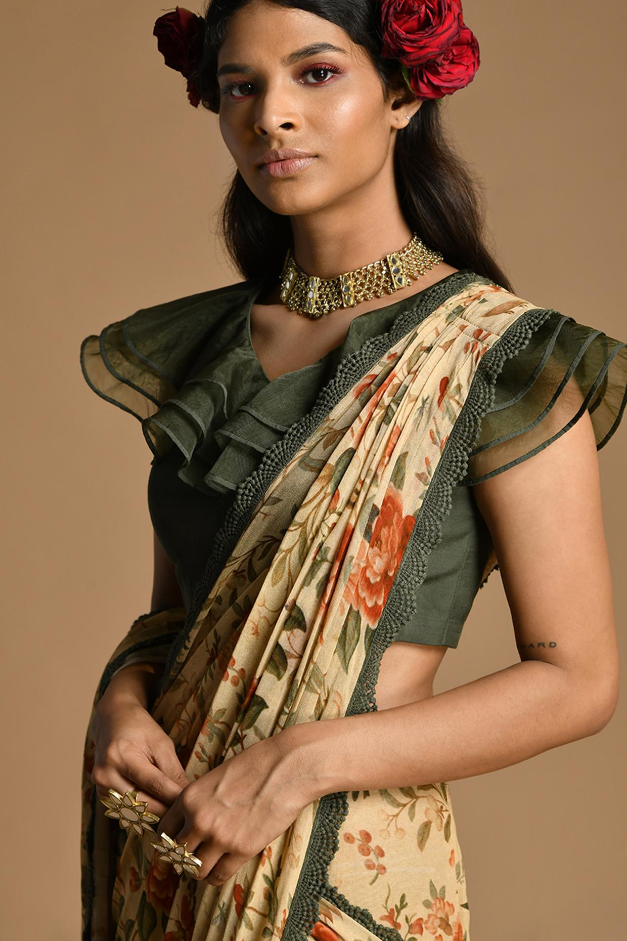 Multi Colored Floral Pre-Draped Saree Set by Kalista