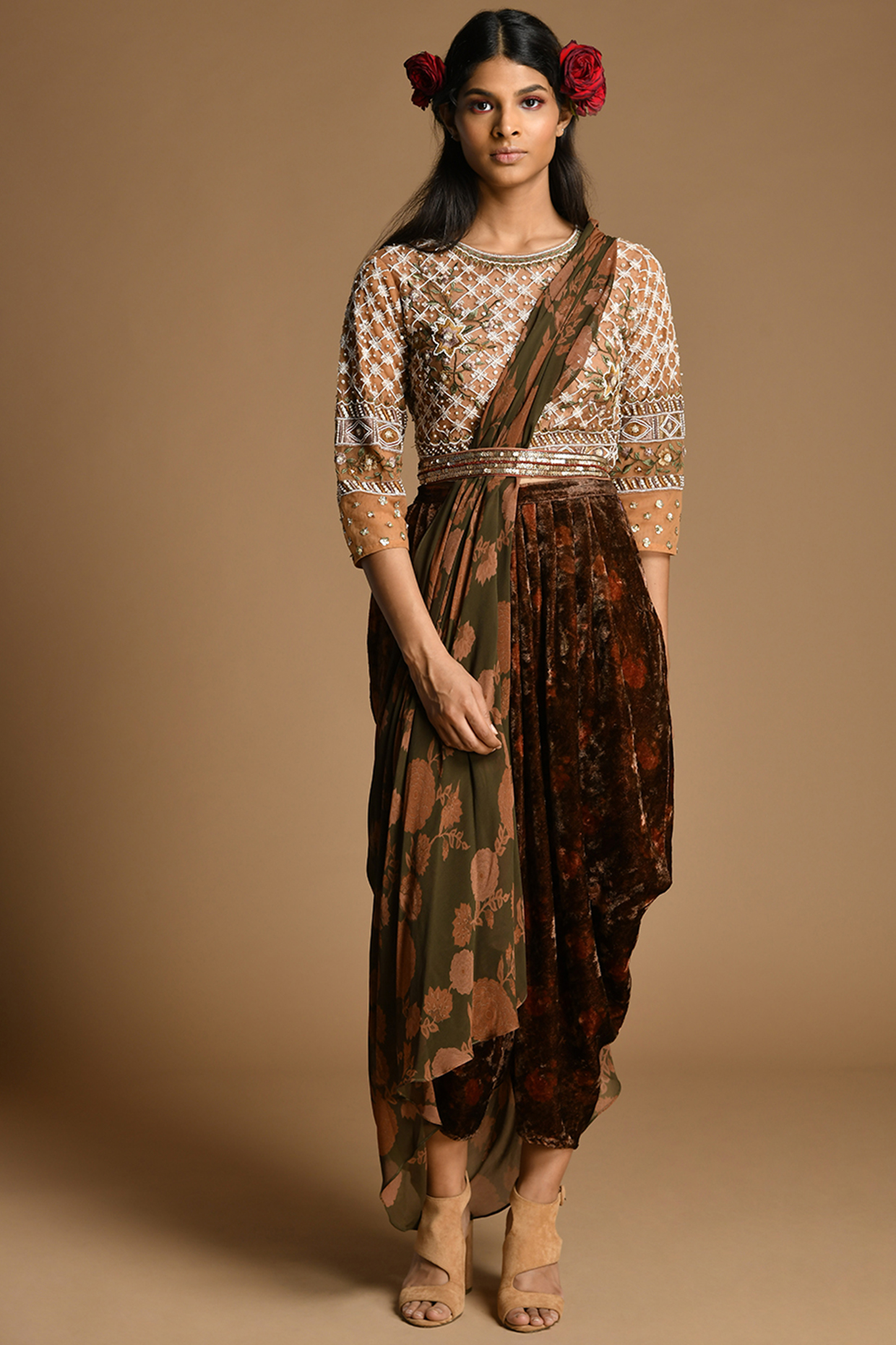 Beige & Multi Colored Embroidered Draped Pant Set by Kalista