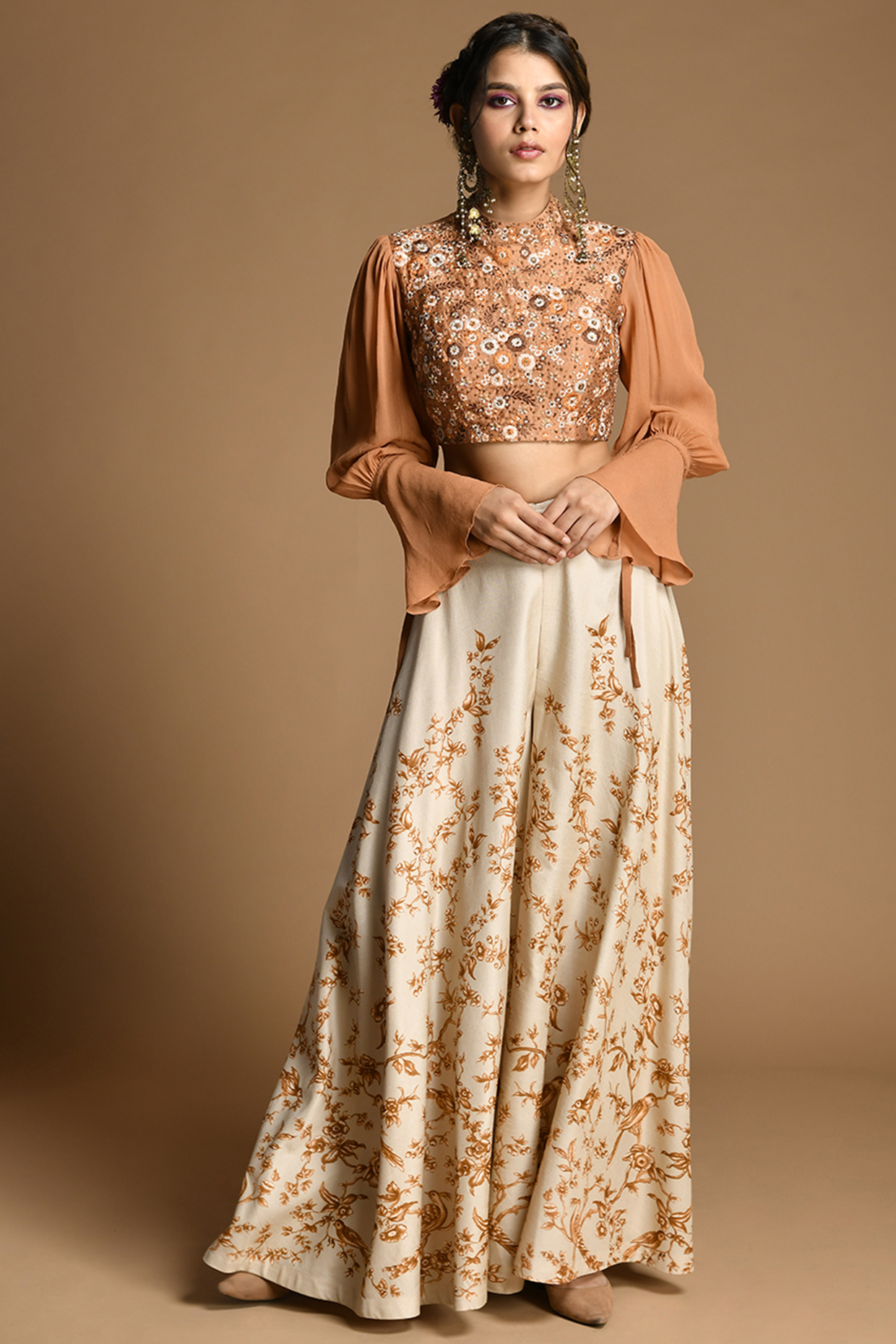 Rust & Ivory Embroidered Pant Set by Kalista