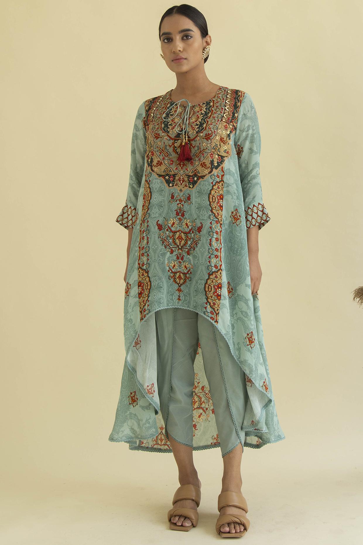 Turquoise Asymmetric Tunic Set by Kalista