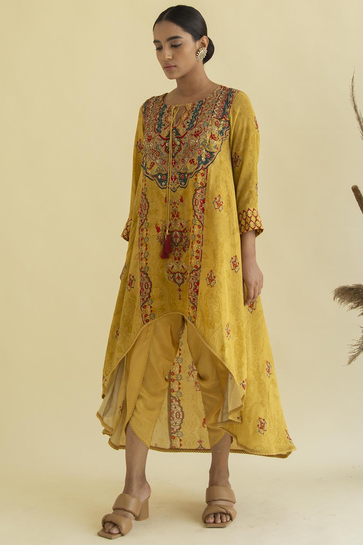Mustard Asymmetric Tunic Set by Kalista