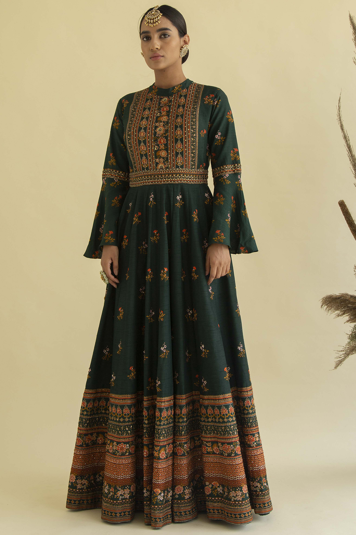 Emerald Green Embroidered Anarkali Set by Kalista