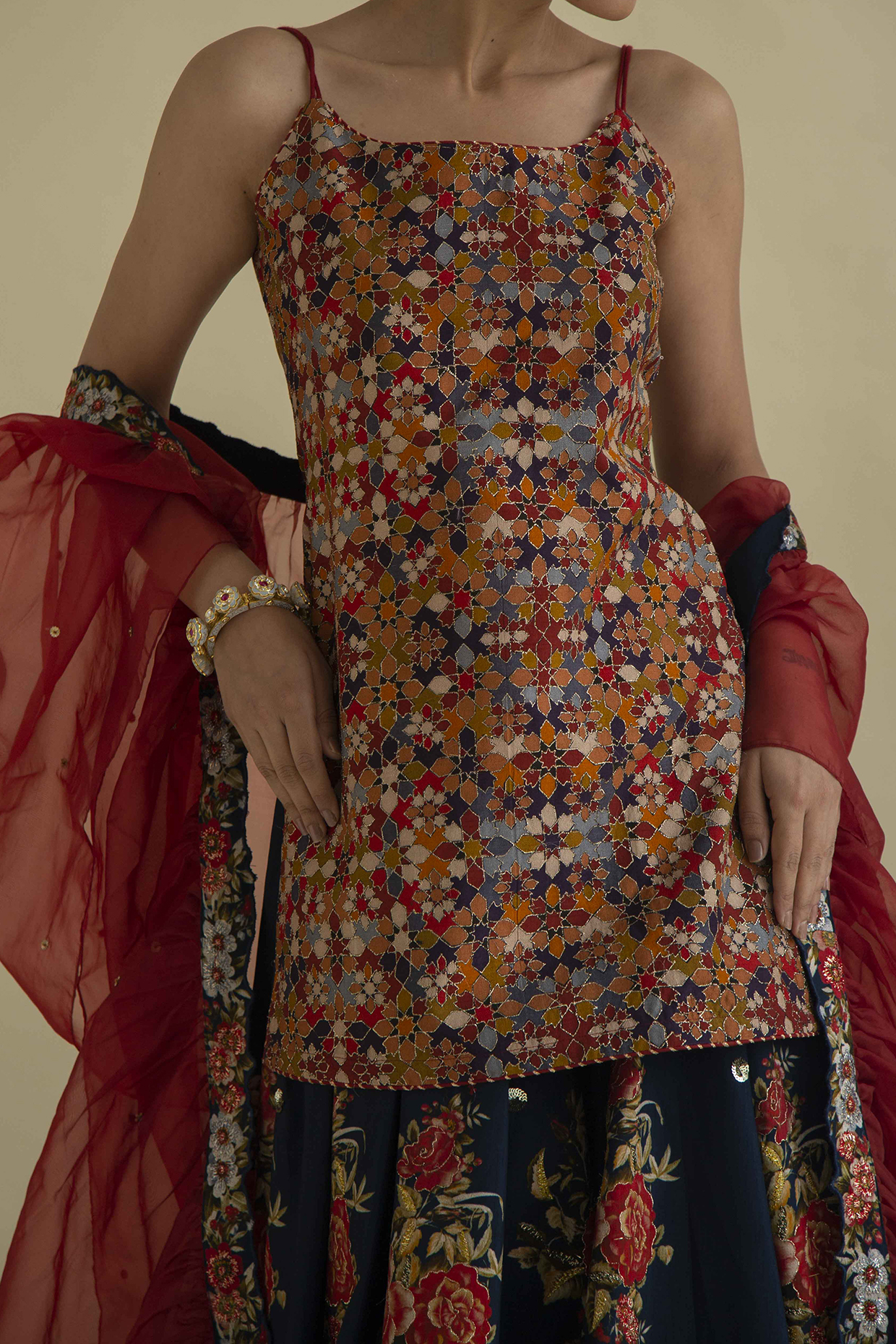 Multi Colored Embroidered Gharara Set by Kalista