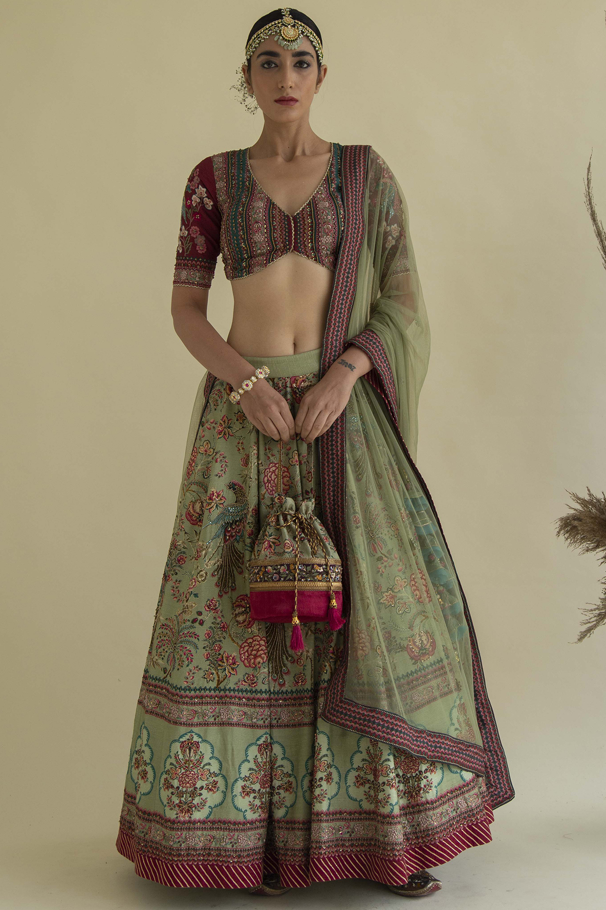 Olive Green Embroidered Lehenga Set by Kalista