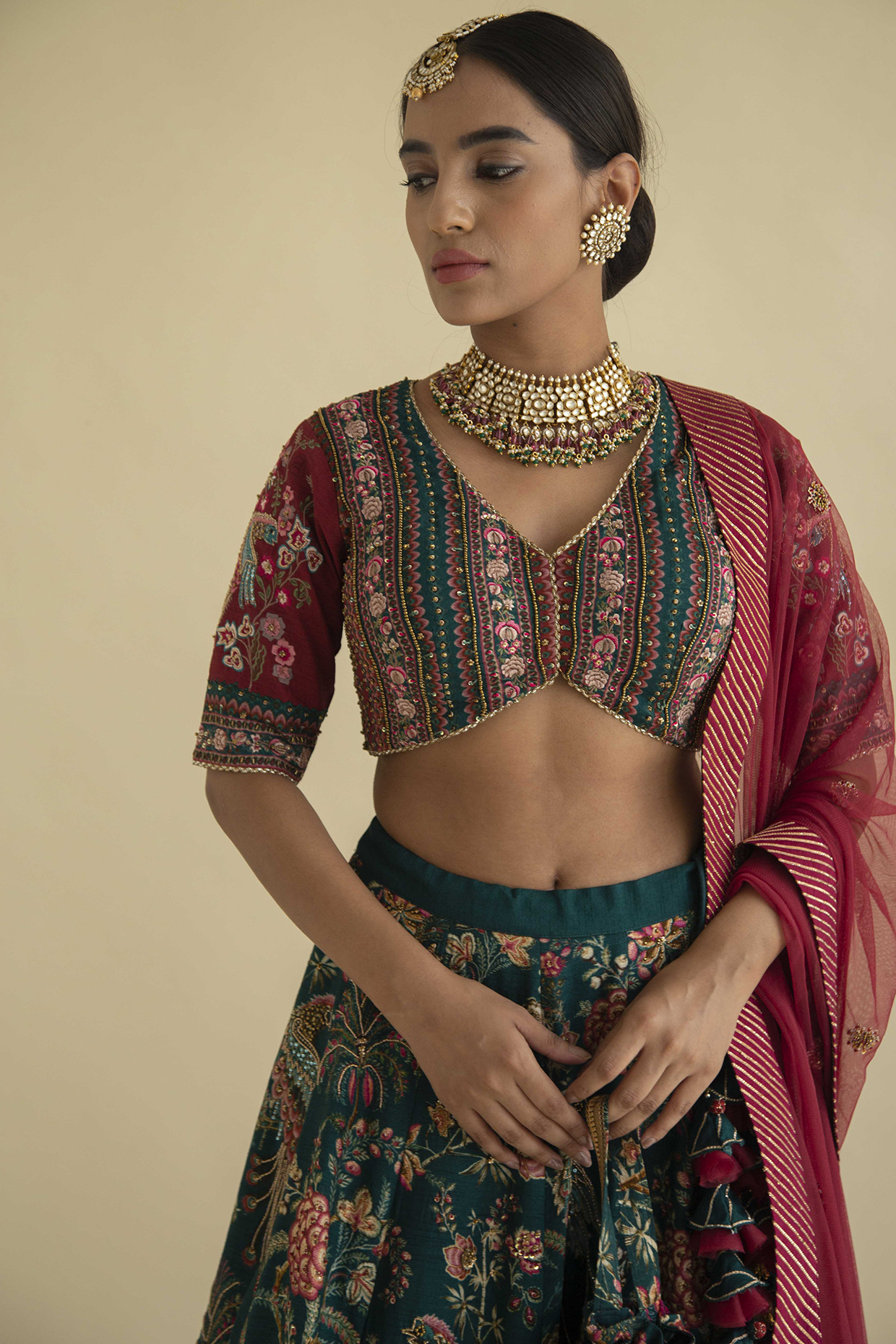 Emerald Green Embroidered Lehenga Set by Kalista