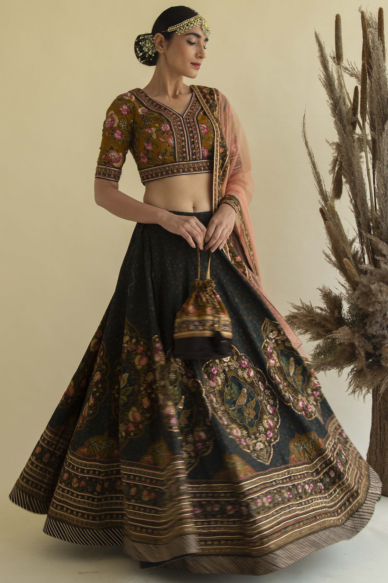 Brown Embroidered Lehenga Set by Kalista