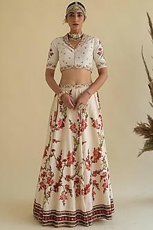 White Embroidered Lehenga Set by Kalista