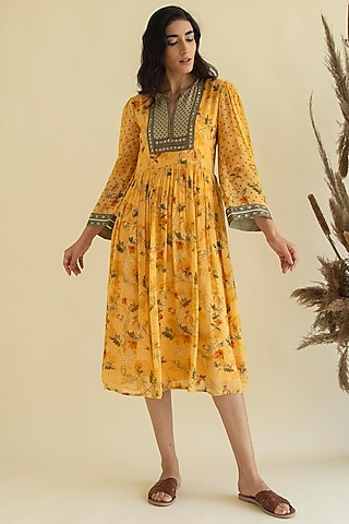 Yellow Printed & Embroidered Tunic by Kalista