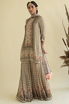 Beige Printed & Embroidered Kurta Set by Kalista