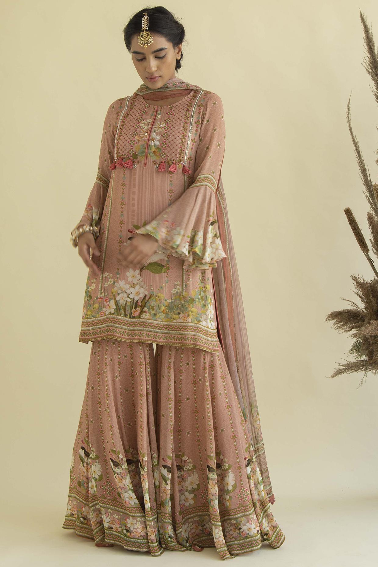Peach Printed & Embroidered Kurta Set by Kalista