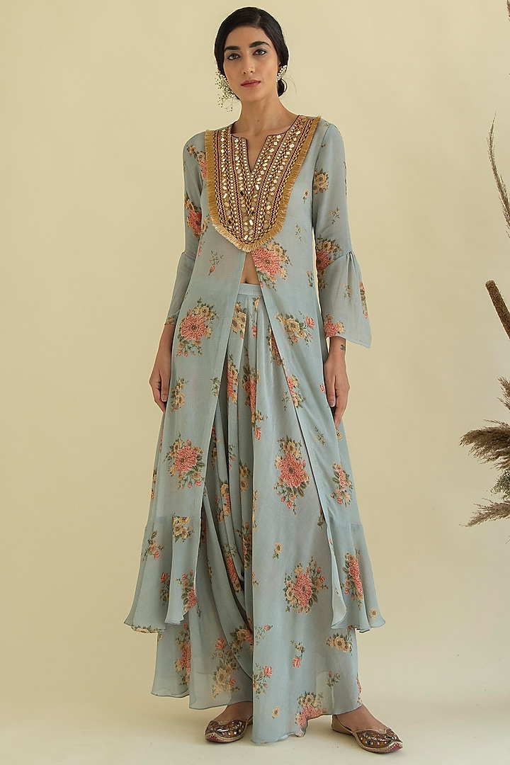 Powder Blue Printed & Embroidered Dress With Pants by Kalista