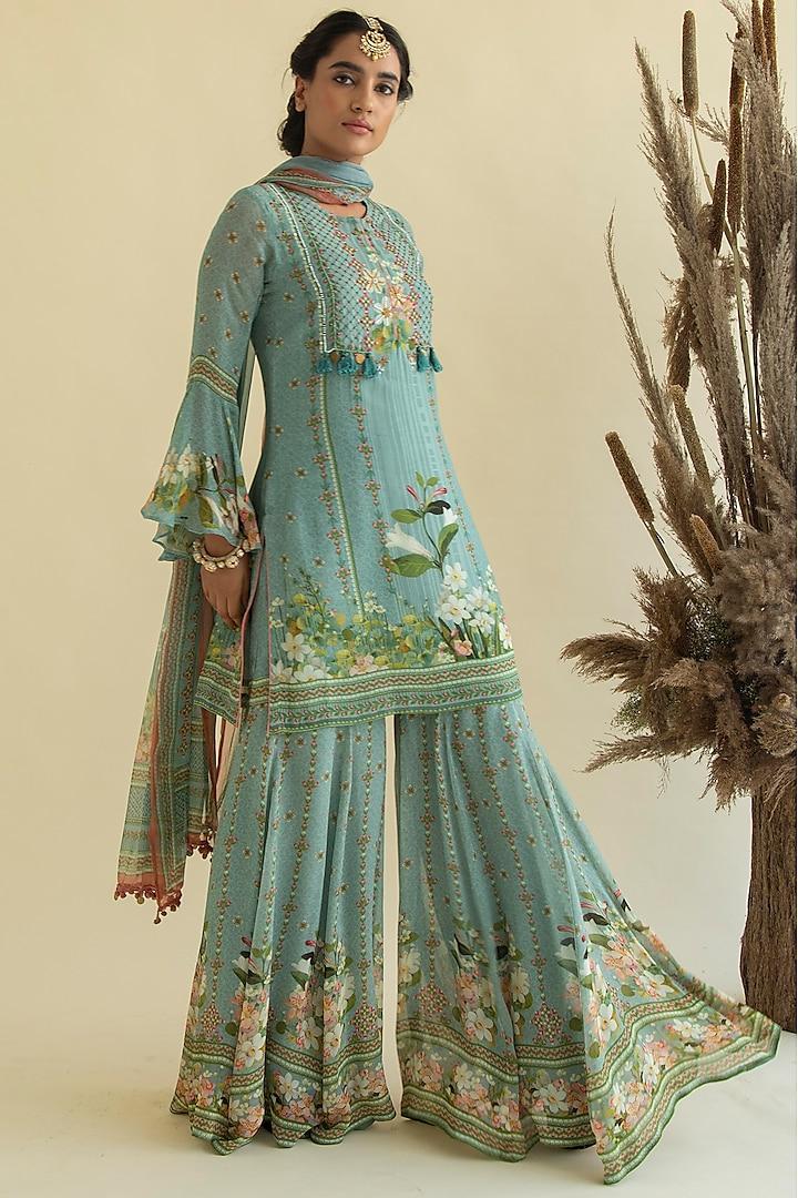 Sky Blue Printed & Embroidered Kurta Set by Kalista