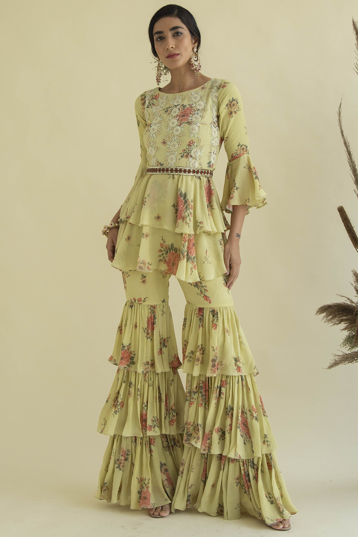 Lime Printed & Embroidered Gharara Set by Kalista