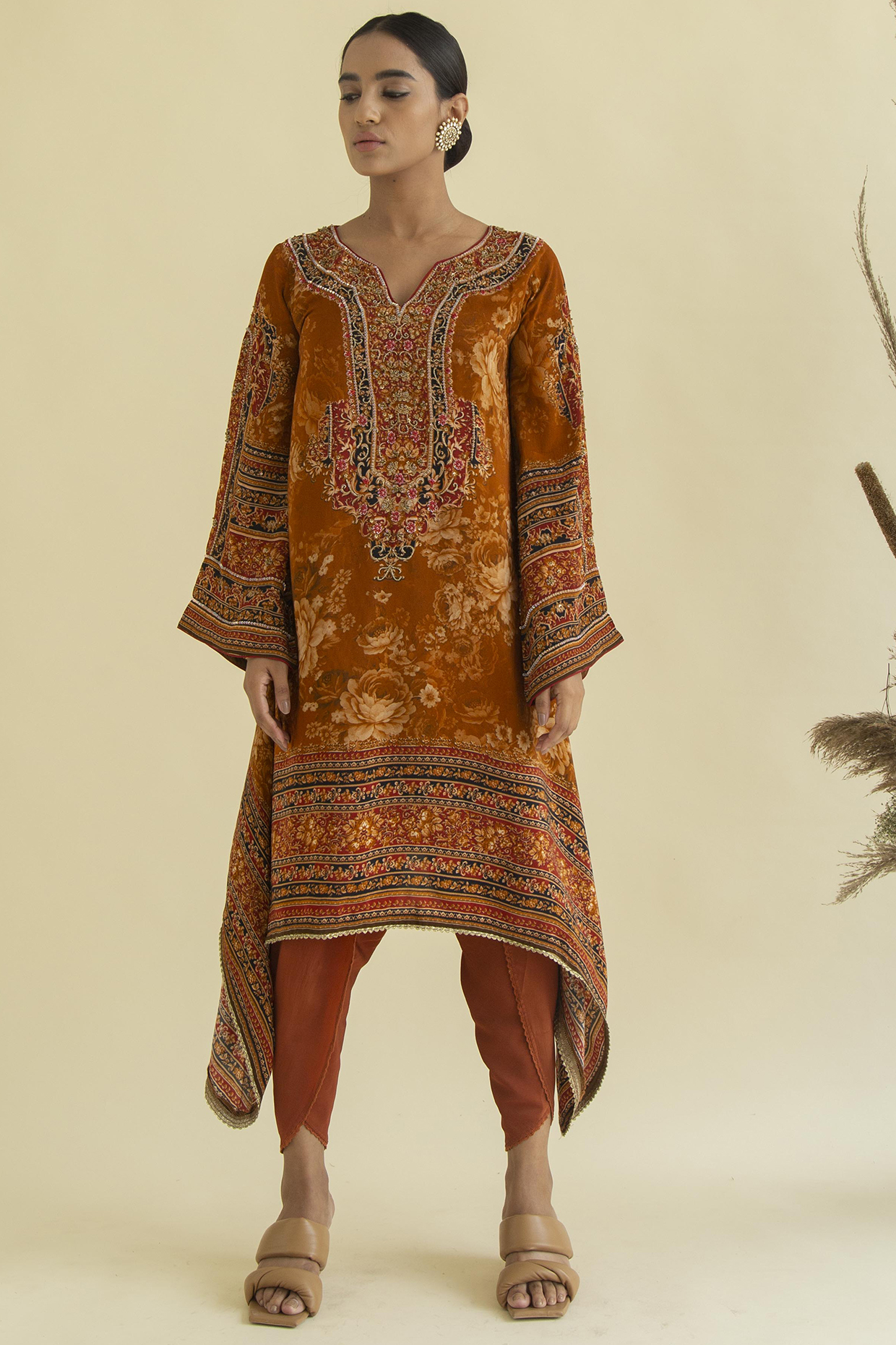 Maroon Printed Tunic Set by Kalista
