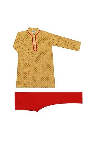 Yellow & Red Printed Kurta Set by Krishna Mehta Kids