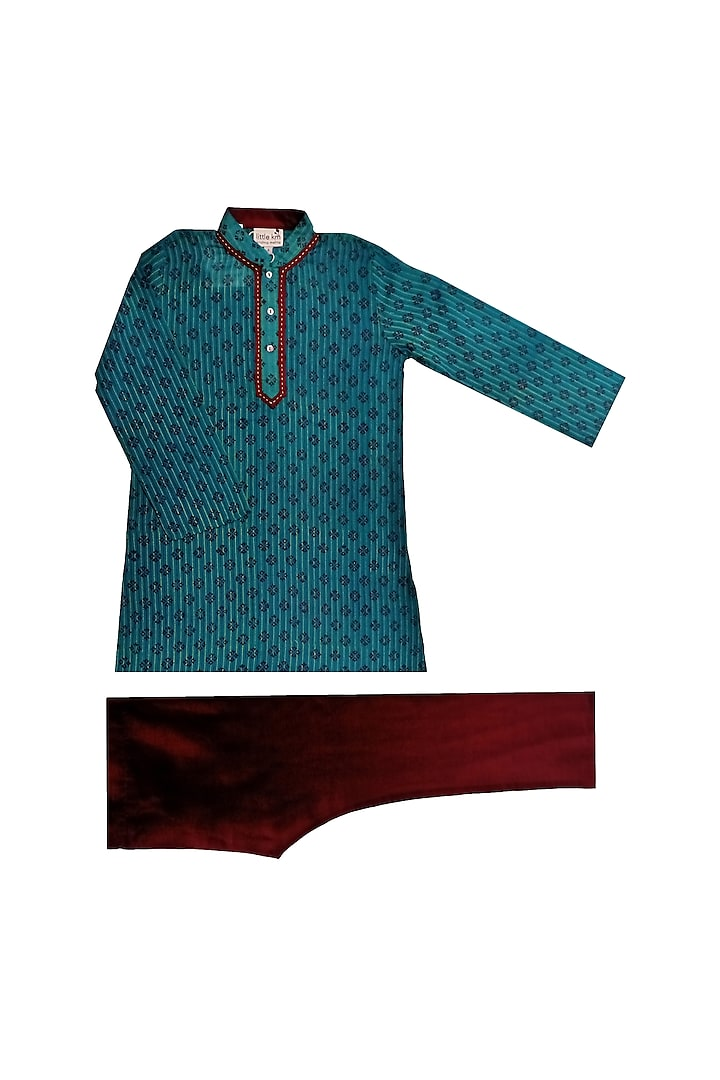 Turquoise & Red Printed Kurta Set by Krishna Mehta Kids