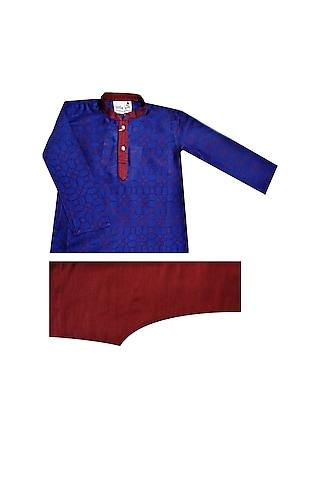 Blue & Red Printed Kurta Set by Krishna Mehta Kids
