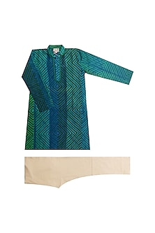 Blue Block Printed Kurta Set by Krishna Mehta Kids