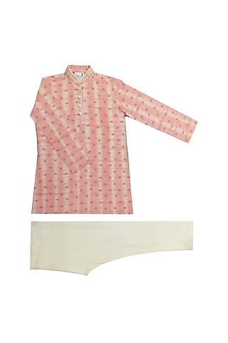 Pink Tie-Dye & Printed Kurta Set by Krishna Mehta Kids