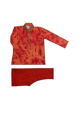 Orange & Red Tie-Dye Kurta Set by Krishna Mehta Kids