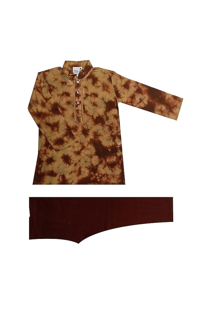 Brown Tie-Dye Kurta Set by Krishna Mehta Kids