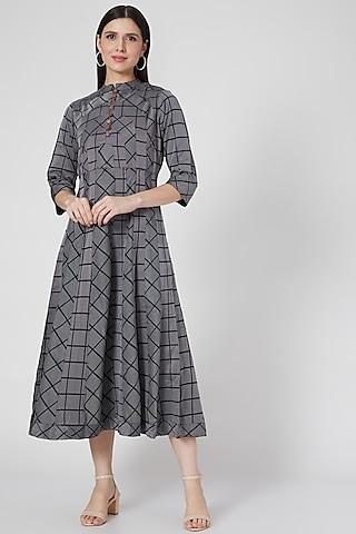 Grey Printed Summer Dress by Komal Shah