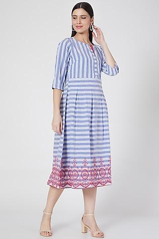 Cobalt Blue Striped Summer Dress by Komal Shah