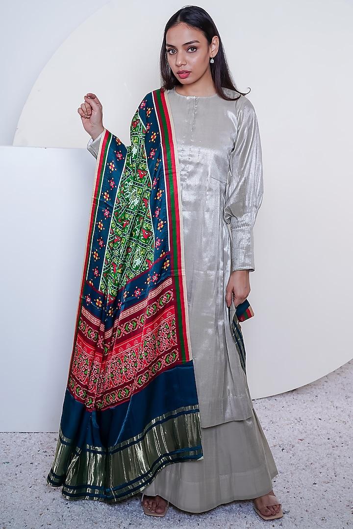 Silver Tissue Sharara Set by Komal Shah