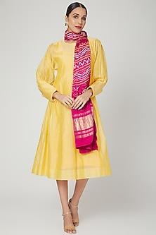 Yellow Embroidered Kurta With Bandhani Dupatta by Komal Shah