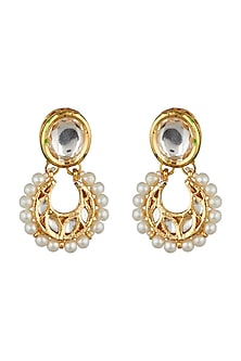 Gold Finish Kundan Stud Earrings by Just Shraddha