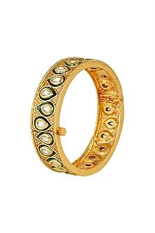 Gold Finish Openable Kundan Bangle by Just Shraddha