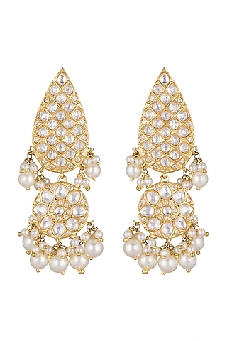 Gold Plated Polki Drop Shaped Earrings by Just Shraddha