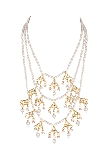 Gold Plated Kundan Teenlada Necklace by Just Shraddha