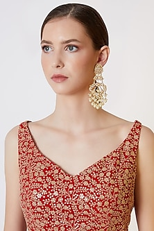 Gold Plated Peacock Dangler Earrings by Just Shraddha