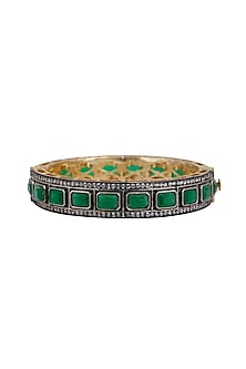 Gold Plated Emerald Bangle by Just Shraddha