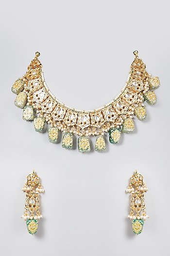 Gold Plated Collar Necklace Set by Just Shraddha