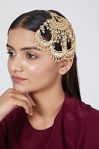 Gold Plated Pearls Chand Pasa by Just Shraddha