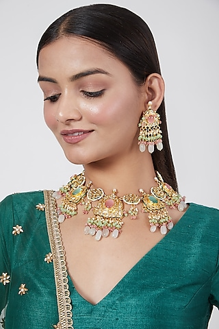 Gold Plated Choker Necklace Set by Just Shraddha