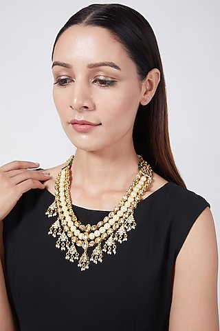Gold Plated Three Tiered Necklace With Polkis by Just Shraddha