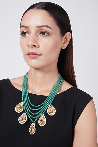 Gold Plated Emerald Beaded Layered Necklace by Just Shraddha