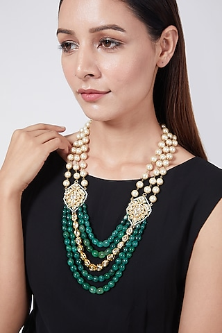 Gold Plated Emerald Long Necklace by Just Shraddha