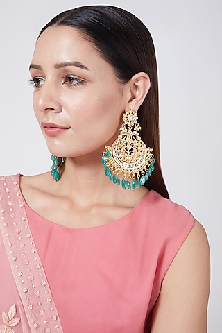 Gold Plated Beaded Chandbali Earrings by Just Shraddha